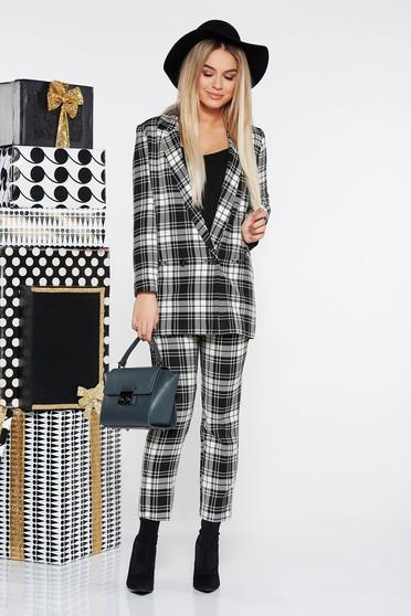 Fekete StarShinerS irodai női kosztüm finom tapintású kockás anyag egyenes szabás magas derekú nadrág