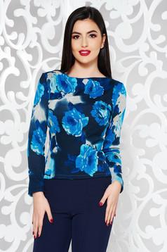 Kék StarShinerS casual pulóver szűk szabás kötött anyag