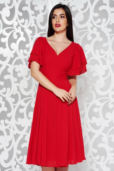 Piros alkalmi harang ruha fátyol anyag belső béléssel v-dekoltázzsal b1faea1d09