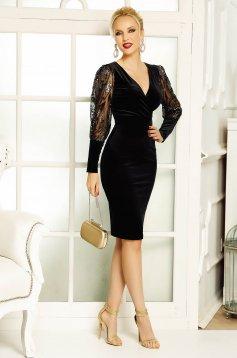 Fekete Fofy midi alkalmi bársony ruha flitteres díszítéssel szűk szabással