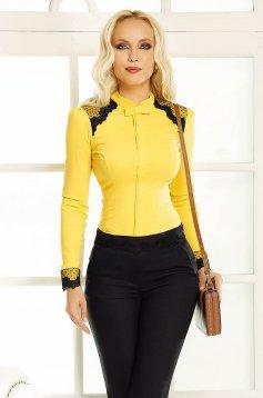 Sárga Fofy női ing irodai szűk szabás csipke díszítéssel