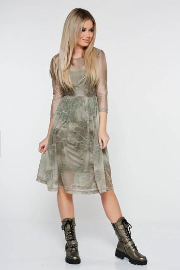 Kaki StarShinerS hétköznapi harang ruha háromnegyedes ujjú áttetsző anyag