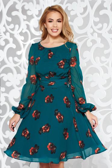 Zöld LaDonna elegáns harang ruha fátyol anyag belső béléssel virágmintás díszítéssel