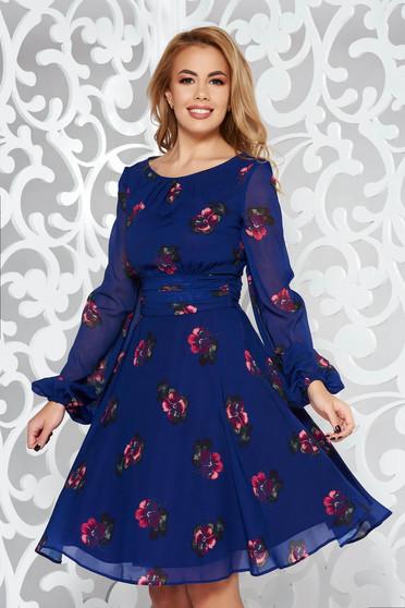 Lila LaDonna ruha elegáns harang fátyol anyag belső béléssel virágmintás díszítéssel