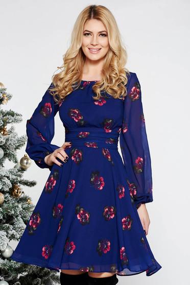 Lila LaDonna elegáns harang ruha fátyol anyag belső béléssel virágmintás díszítéssel
