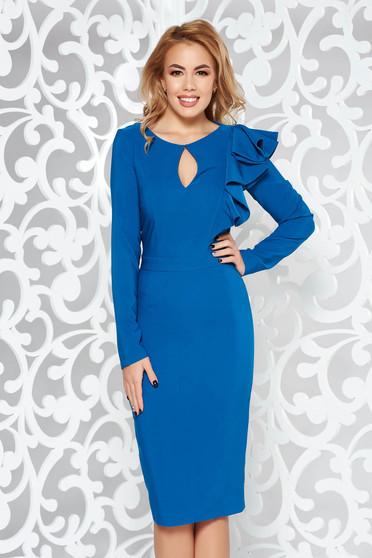 Kék LaDonna ruha elegáns ceruza enyhén elasztikus szövet belső béléssel fodros