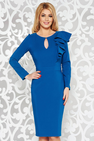 Kék LaDonna elegáns ceruza ruha enyhén elasztikus szövet belső béléssel fodrokkal