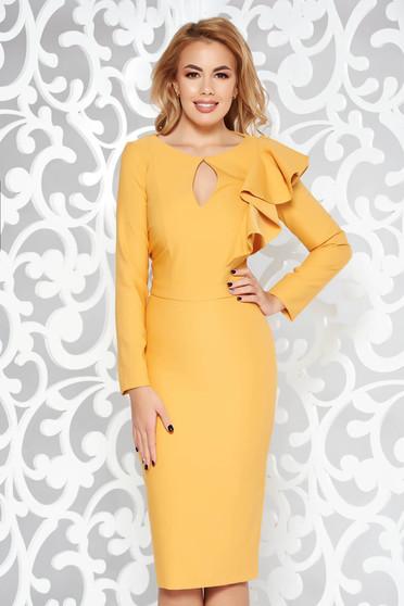 Sárga LaDonna ruha elegáns ceruza enyhén elasztikus szövet belső béléssel fodros