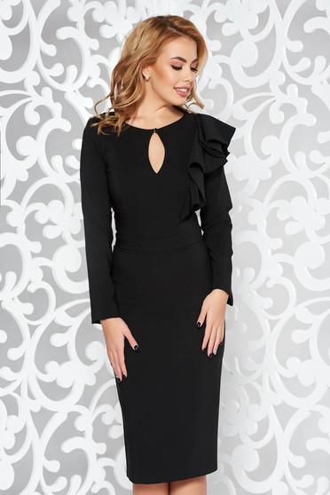Fekete LaDonna ruha elegáns ceruza enyhén elasztikus szövet belső béléssel fodros