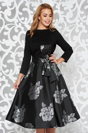 Ezüst Artista ruha alkalmi harang belső béléssel masni díszítéssel midi