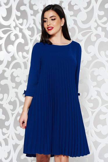 Kék elegáns bő szabású rakott ruha rugalmatlan szövet gyöngy díszítéssel
