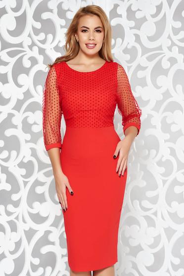 Piros ruha elegáns ceruza enyhén elasztikus szövet belső béléssel átlátszó ujj