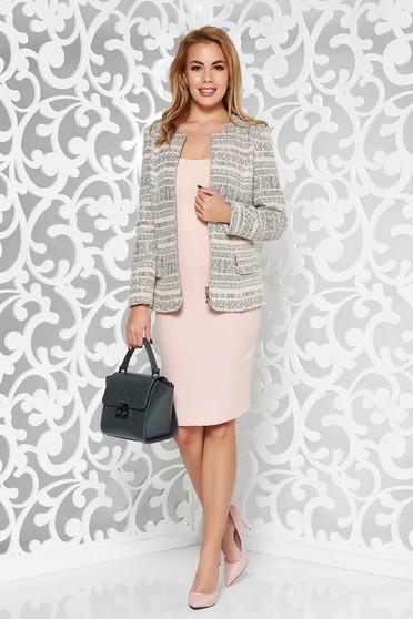 Rózsaszínű elegáns női kosztüm rugalmatlan szövet belső béléssel szoknyával