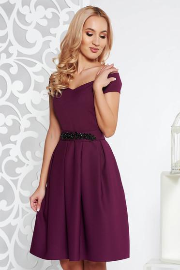Lila StarShinerS ruha alkalmi harang belső béléssel enyhén elasztikus  szövet strassz köves kiegészítő b79e26f7a4