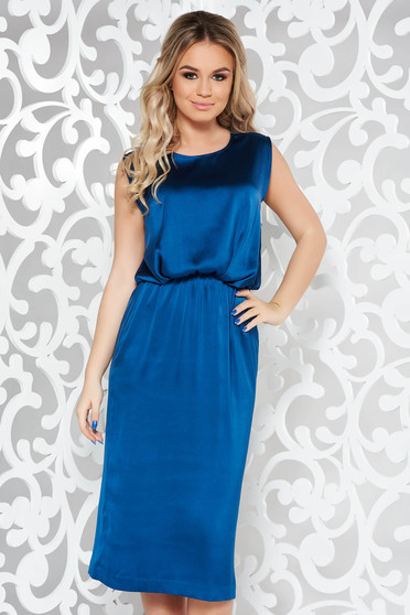 Kék alkalmi midi ujjatlan ruha szatén anyagból derékban rugalmas