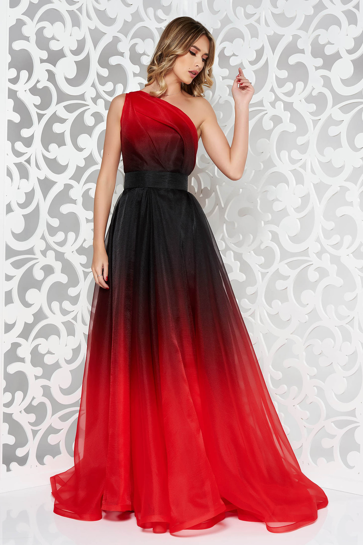 ccd503dc4f Piros Ana Radu hosszú egy vállas harang ruha belső béléssel övvel ellátva