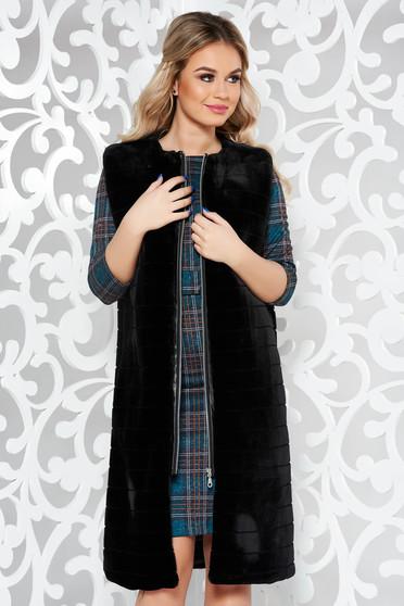 Fekete LaDonna mellény casual műszőrme belső béléssel