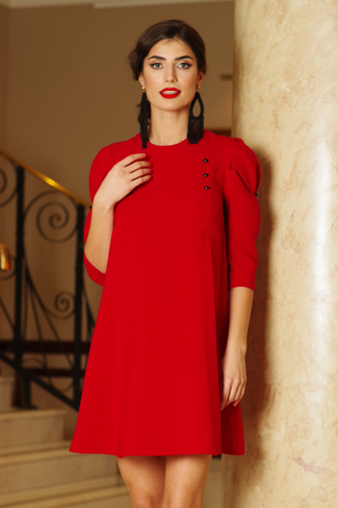 Piros hétköznapi bő szabású háromnegyedes ujjú ruha enyhén elasztikus szövet gomb kiegészítőkkel
