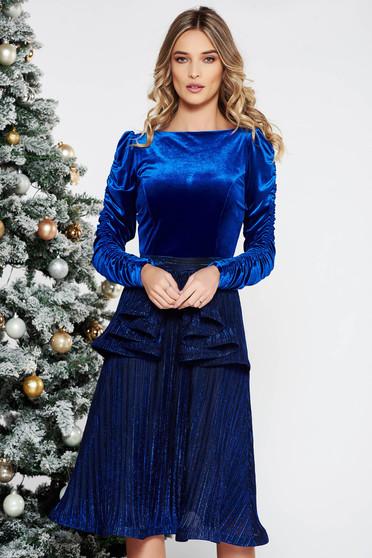 Kék StarShinerS alkalmi bársony ruha fényes anyag belső béléssel derekán fodros