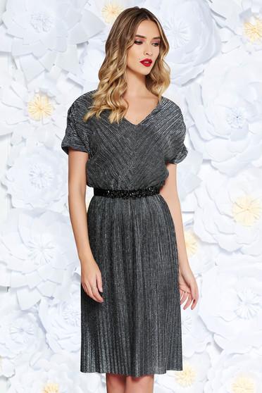 Fekete StarShinerS alkalmi ruha fényes anyag belső béléssel övvel ellátva  strassz köves kiegészítő 56dd60602f