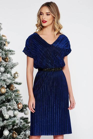 Kék StarShinerS alkalmi ruha fényes anyag belső béléssel övvel ellátva strassz köves kiegészítővel