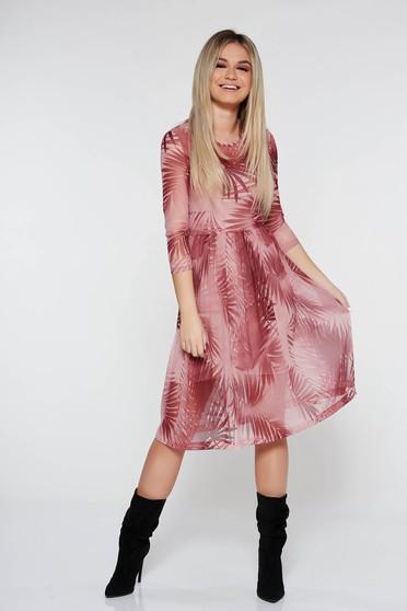 Rózsaszínű StarShinerS hétköznapi harang ruha háromnegyedes ujjú áttetsző anyag