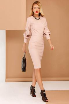 Rózsaszínű PrettyGirl ruha party ceruza műbőr hosszú ujjú belső béléssel