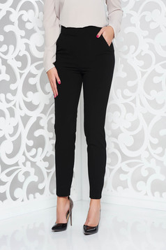 Fekete PrettyGirl irodai nadrág egyenes enyhén rugalmas szövet magas derekú