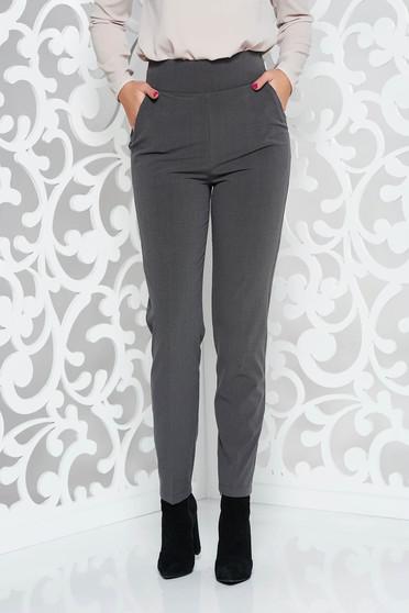 Szürke PrettyGirl irodai nadrág egyenes enyhén rugalmas szövet magas derekú