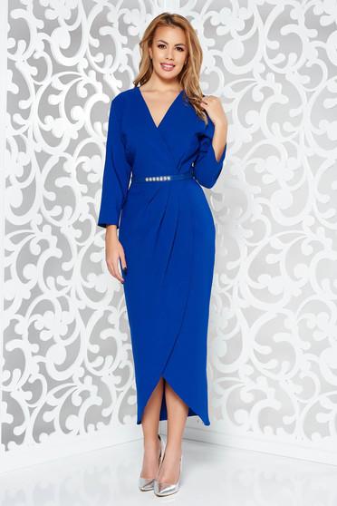 Kék elegáns dekoltált 3/4-es ujjú ruha enyhén rugalmas szövet öv típusú kiegészítővel