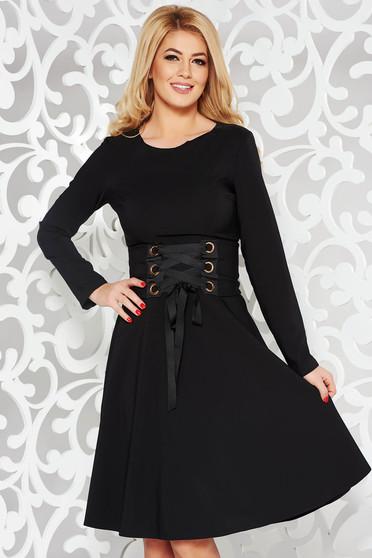 Fekete LaDonna hétköznapi elegáns harang ruha enyhén elasztikus szövet  övvel ellátva 305c27178c