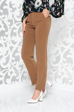 Barna irodai nadrág egyenes enyhén elasztikus szövet