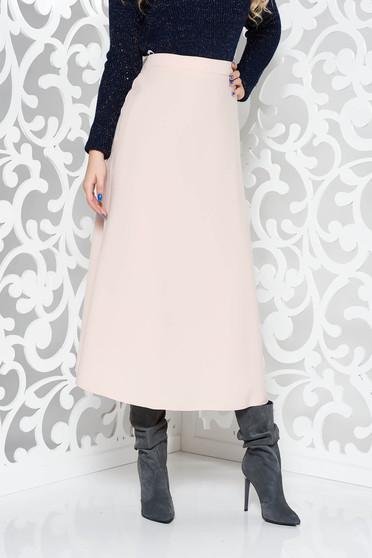 Rózsaszínű irodai magas derekú harang szoknya enyhén rugalmas szövet