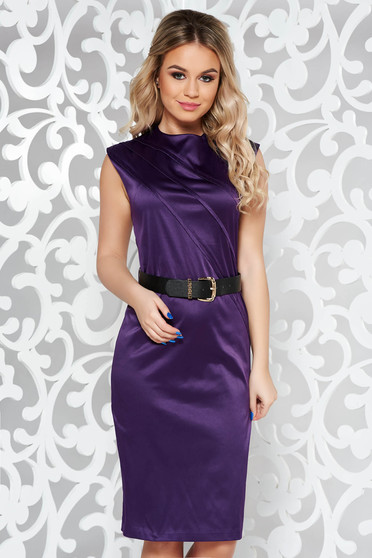 Lila elegáns midi ruha enyhén elasztikus pamut öv típusú kiegészítővel