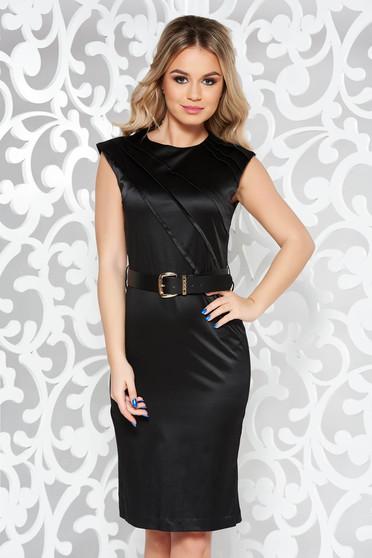 Fekete elegáns midi ruha enyhén elasztikus pamut öv típusú kiegészítővel