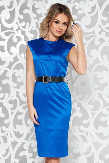 Kék elegáns midi ruha enyhén elasztikus pamut öv típusú kiegészítővel