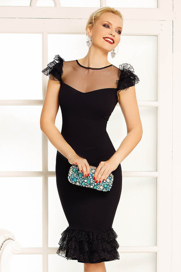 Fekete Fofy alkalmi ceruza ruha csipke díszítéssel
