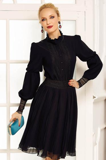 Fekete Fofy elegáns női blúz fátyol hosszú ujjú csipke díszítéssel