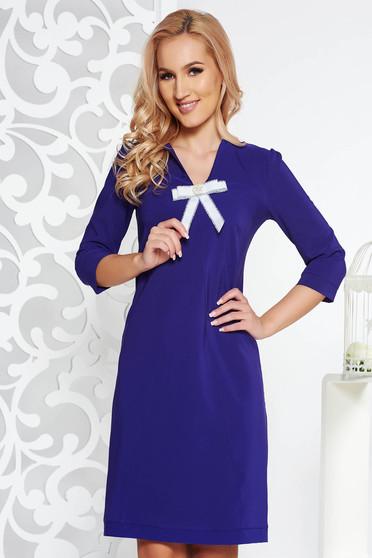 Lila Fofy hétköznapi a-vonalú ruha enyhén elasztikus szövet masni díszítéssel