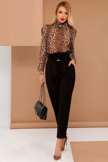 Fekete PrettyGirl irodai magas derekú nadrág enyhén elasztikus szövet masni díszítéssel