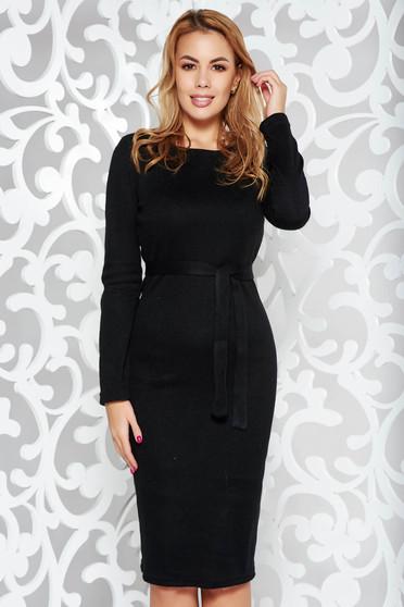 Fekete PrettyGirl casual ceruza ruha kötött anyag belső béléssel övvel ellátva