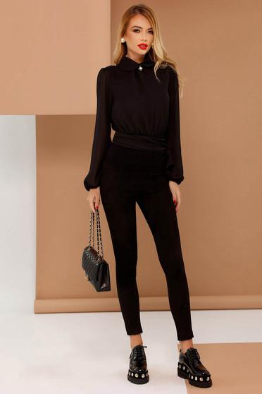 Fekete PrettyGirl casual magas derekú nadrág szűk szabás bársonyos anyag