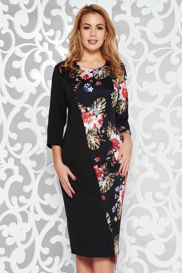Fekete elegáns midi ruha enyhén rugalmas szövet virágmintás