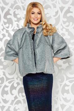 Szürke alkalmi műszőrme kabát belső béléssel bő szabás