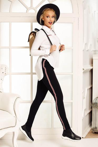 Fekete Fofy nadrág casual kónikus enyhén elasztikus szövet zsebes