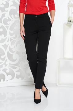 Fekete Fofy casual kónikus nadrág enyhén elasztikus szövet zsebekkel