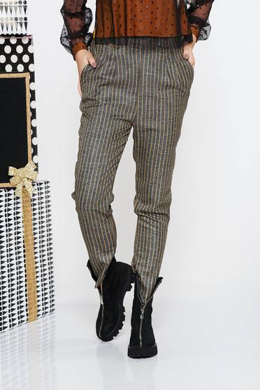 Mustar Fofy irodai magas derekú kónikus nadrág rugalmatlan szövet