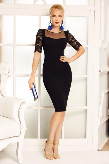 Fekete Fofy ruha elegáns ceruza enyhén rugalmas anyag csipke ujj