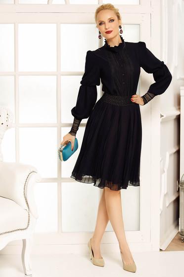 Fekete Fofy szoknya elegáns harang fátyol magas derekú belső béléssel rakott