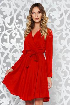 Piros StarShinerS elegáns harang ruha fátyol derékban rugalmas övvel ellátva belső béléssel